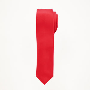 Red Satin Skinny Long Tie