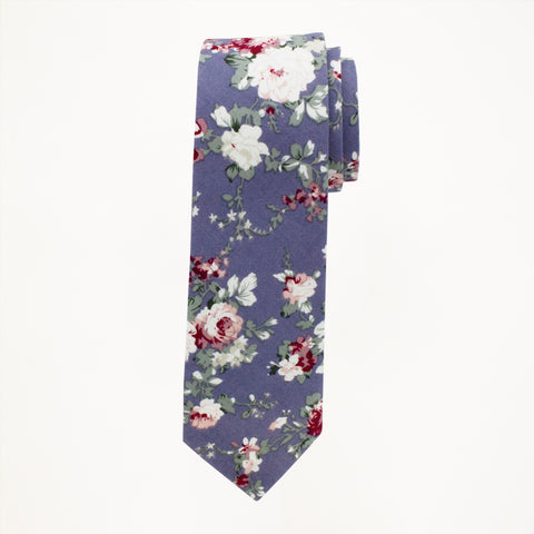 Riviera Blue Floral Long Tie