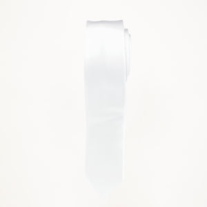 White Satin Skinny Long Tie