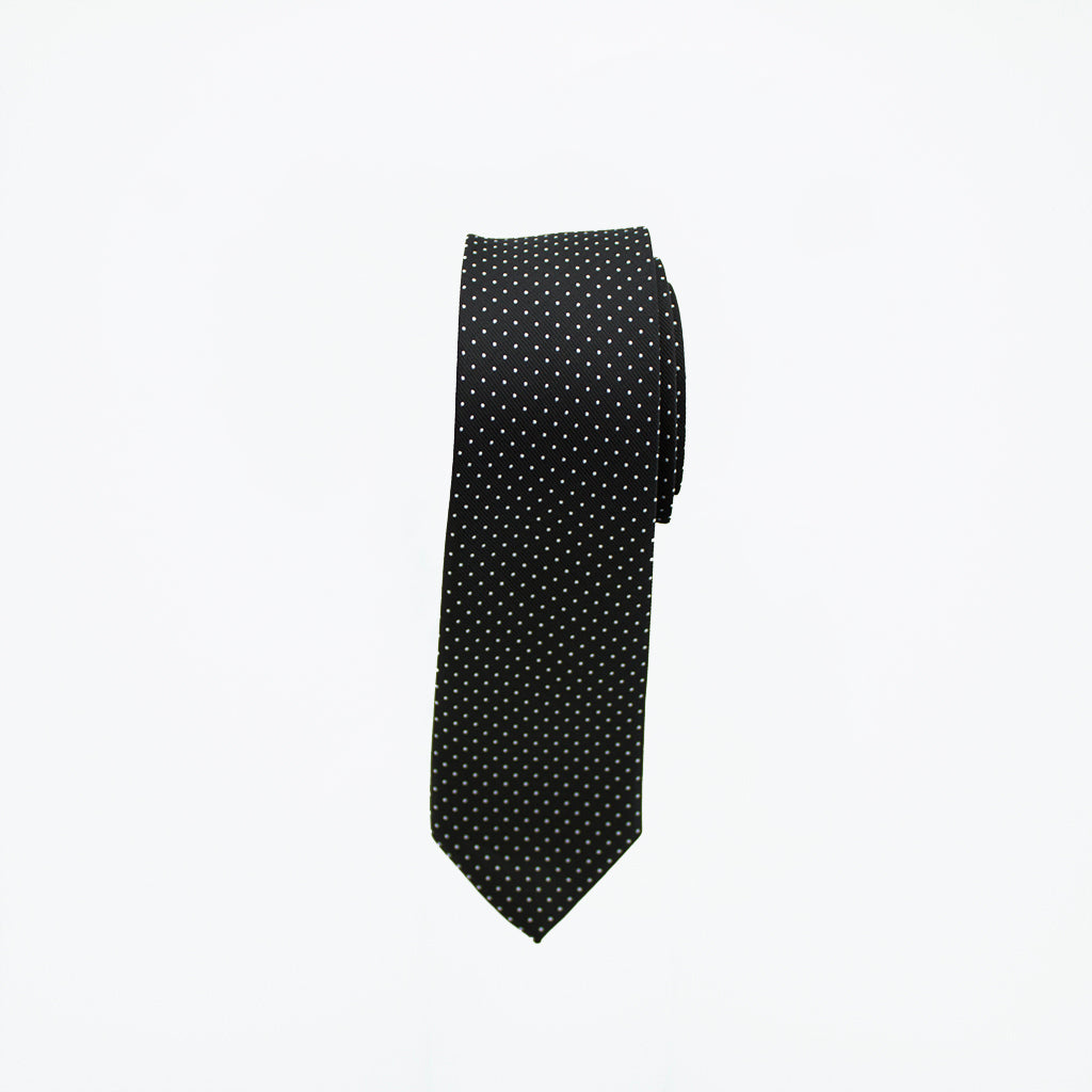 Black with White Dot Long Tie