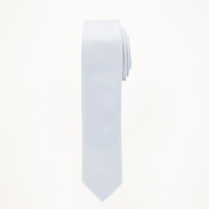 Silver Satin Skinny Long Tie