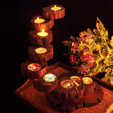 nature teak wood candle stand