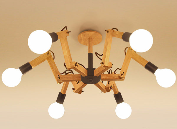 Ceiling Lamp: Wood. moveable