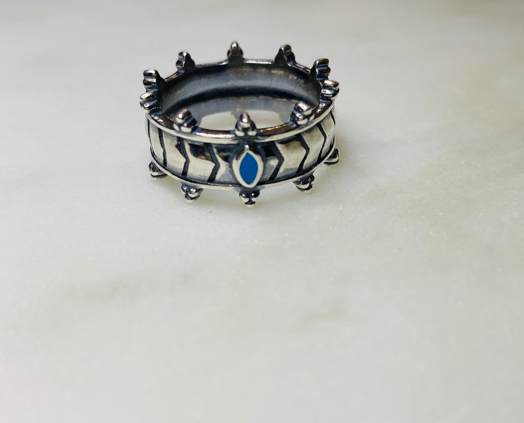 Crown Ring with marquise turquoise