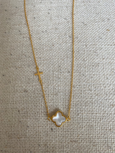 Clover and Cross Necklace mother of pearl (gold)