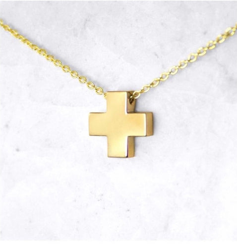 Rhea Block Cross Necklace - Yellow Gold Vermeil