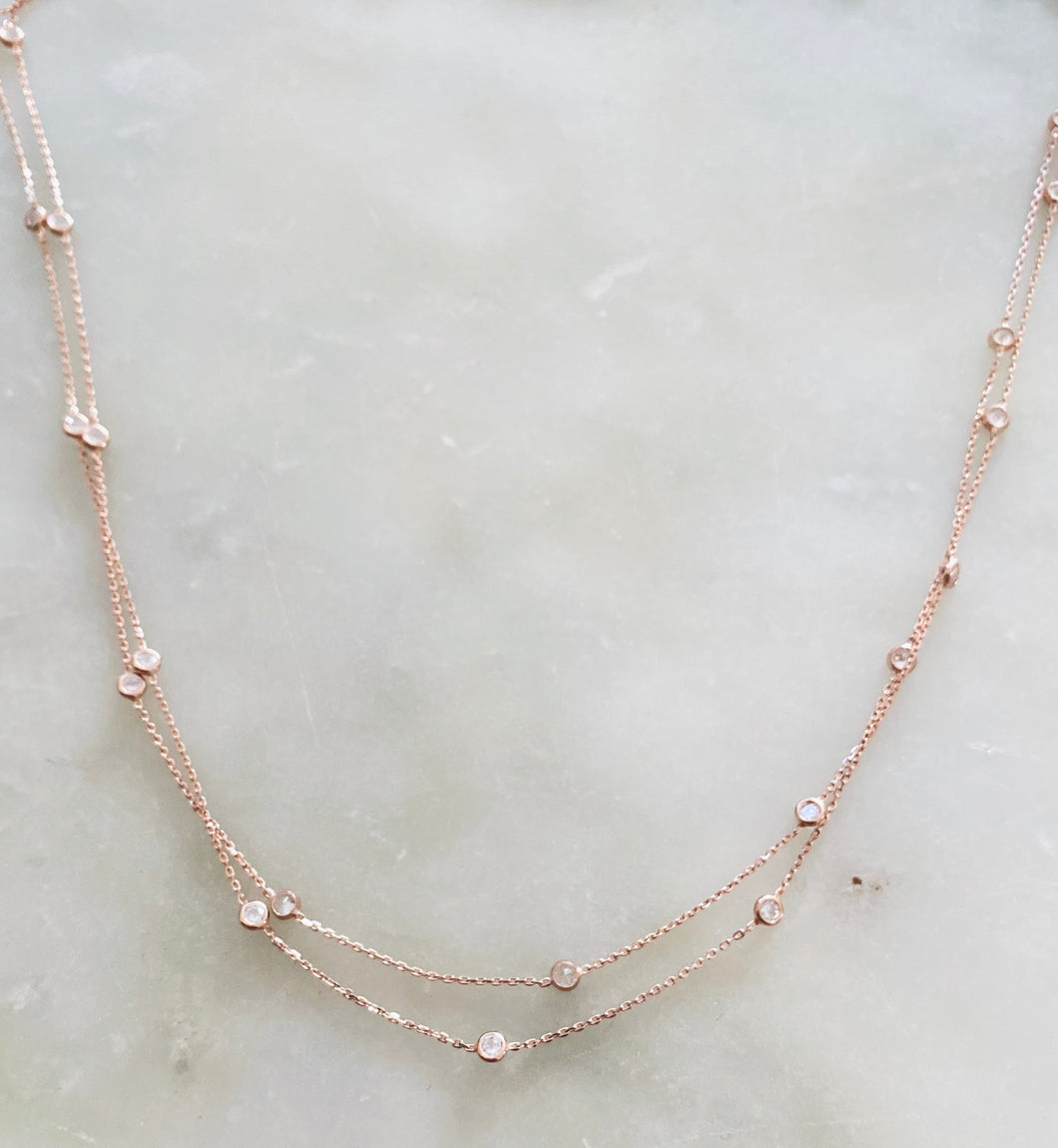 Sprinkle Necklace - Rose Gold Filled with diamonte
