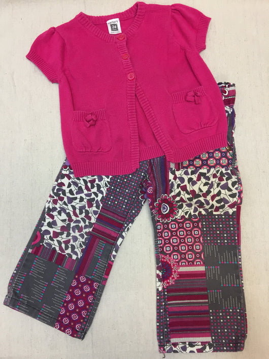 Girls (#111) 2pc Pink Pattern Outfit