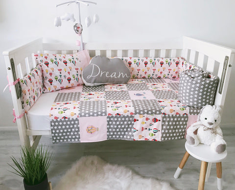 Pink and Grey Hot Air Balloon and Stars Bedding Set