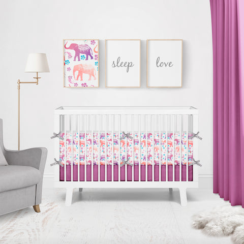 Floral Elephants on White Cot Bumpers