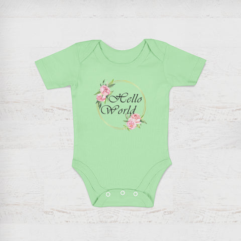 Hello World Peony Green Baby Onesie