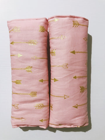Gold Arrows On Pink Baby Seat Belt Covers