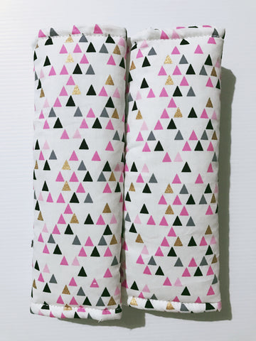 Pink Gold And Black Geometric Triangles Baby Seat Belt Covers