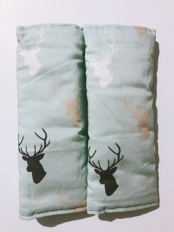 Deers On Mint Baby Seat Belt Covers