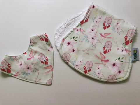 Pink Floral Birds and Dreamcatchers Bib And Burp Cloth