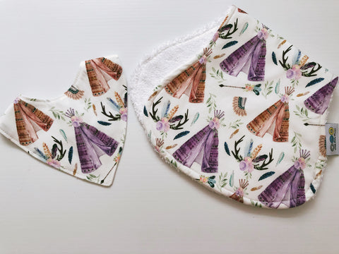 Mauve Teepees and Floral Antlers Bib And Burp Cloth