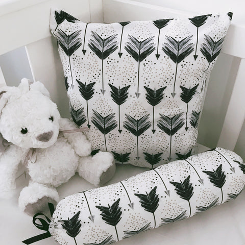Black Shooting Arrows cushion cover and bolster set