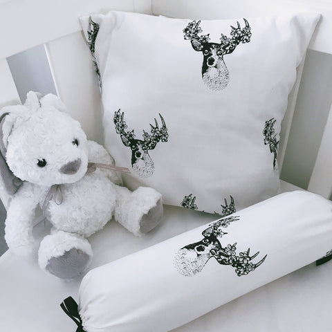Black and White Deer on White cushion cover and bolster set