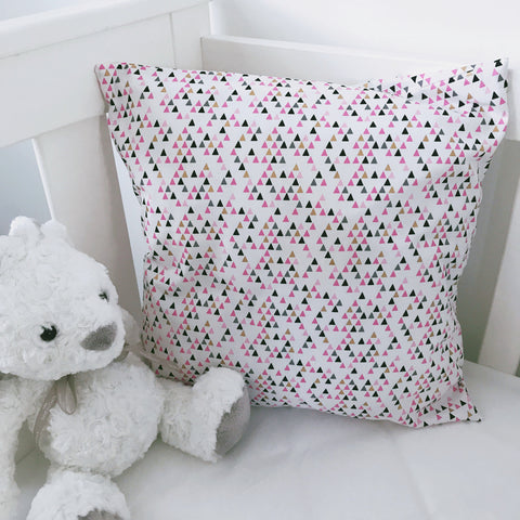 Geo Triangles on White Cushion Cover