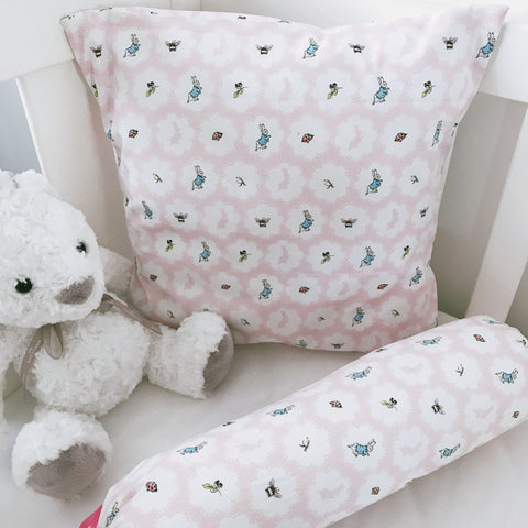 Pink Peter Rabbit cushion cover and bolster set