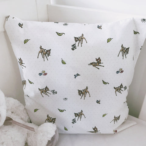 Bambi on White Cushion Cover