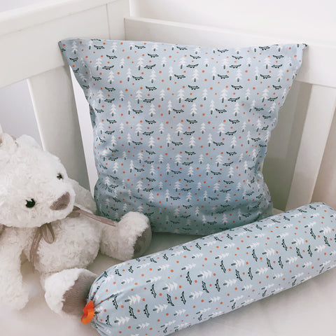 Geo Foxes on Blue cushion cover and bolster set