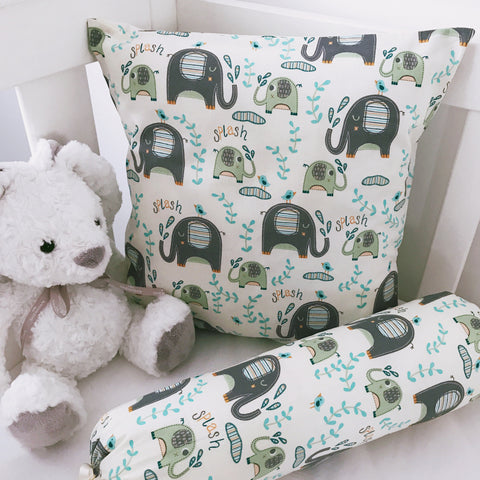 Blue Elephant Splash cushion cover and bolster set