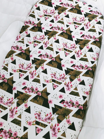 Floral Geo Triangles Bassinet Fitted Sheet