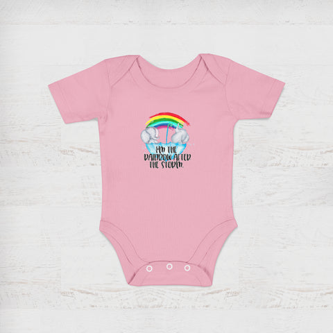 I'm The Rainbow After The Storm Pink Baby Onesie