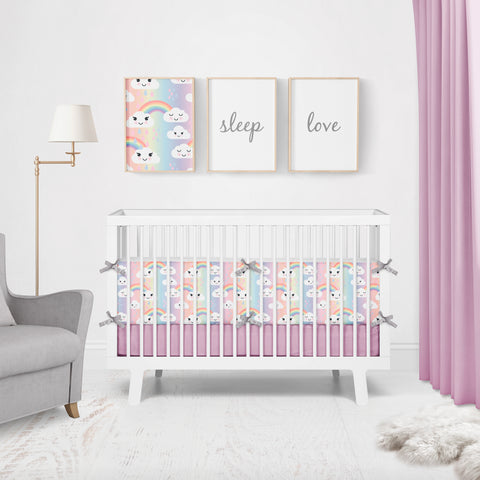Kawaii Rainbow Clouds Cot Bumpers