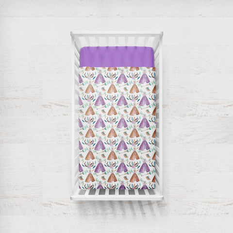 Mauve Boho Teepees Cot Quilt