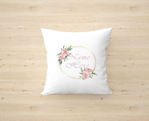 Personalised Name Peony Cushion Cover
