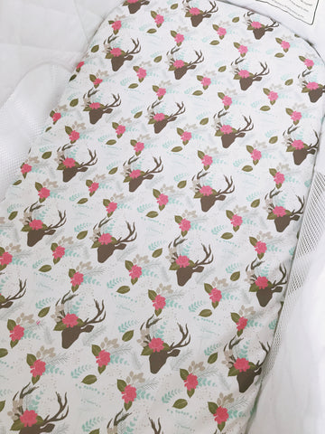 Floral Deers  Bassinet Fitted Sheet