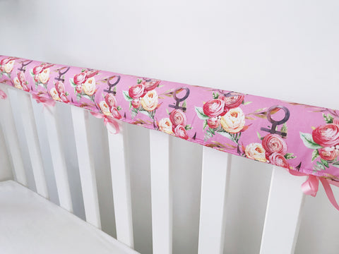 Pink Floral Anchors Teething Rail Cover
