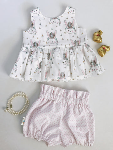 Pastel Tribal Bunnies Peplum Top & High Waist Bubble Shorts Set