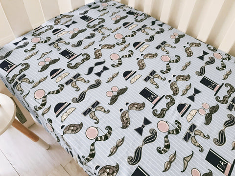 Soft Flannel Blue Mister Moustache Cot Fitted Sheet