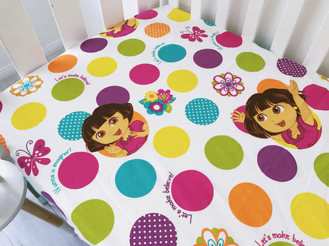 Colourful Spotty Dora The Expora Cot Fitted Sheet
