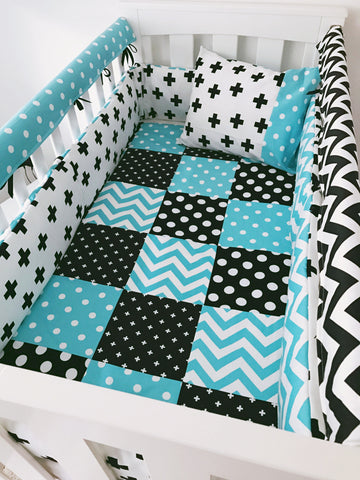 Blue Black and White Chevron Spots and Crosses Bedding Set