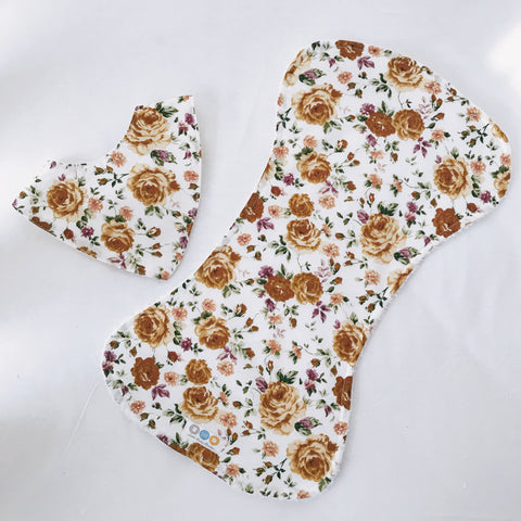 Butterscotch Audrey Floral Bib And Burp Cloth