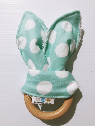 Mint and White Polka Dot Bunny Ear Teether Toy