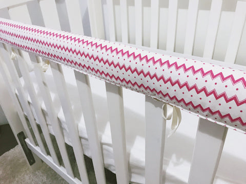 Pink Chevron and Spots Teething Rail Cover