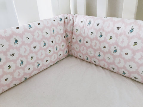 Pink Peter Rabbit Cot Bumpers