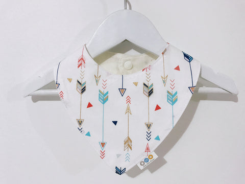 Metallic Arrows On White Bandana Bib