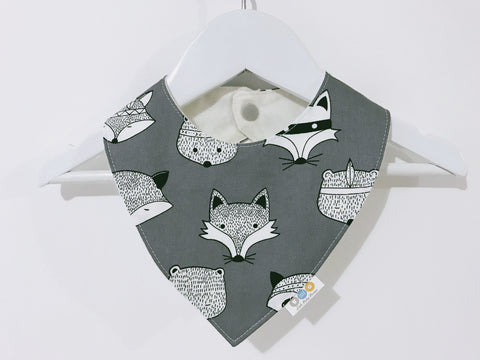 White Tribal Animals On Grey Bandana Bib