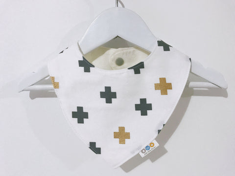 Grey And Metallic Gold Crosses On White Bandana Bib