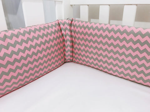 Pink And Grey Chevron Cot Bumpers