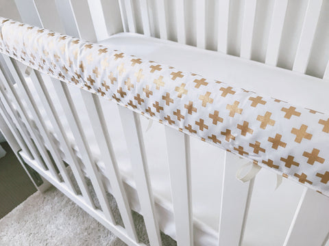 Metallic Gold Crosses Teething Rail Cover