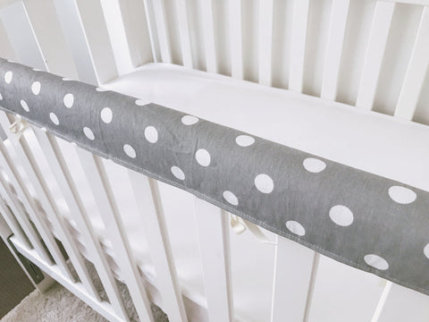 Grey With White Spots Teething Rail Cover