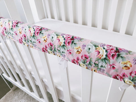 Small Floral On Light Pink Teething Rail Cover