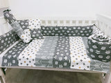Grey White And Gold Tribal Animals Crosses Arrows Baby Cot Bumper Quilt Set